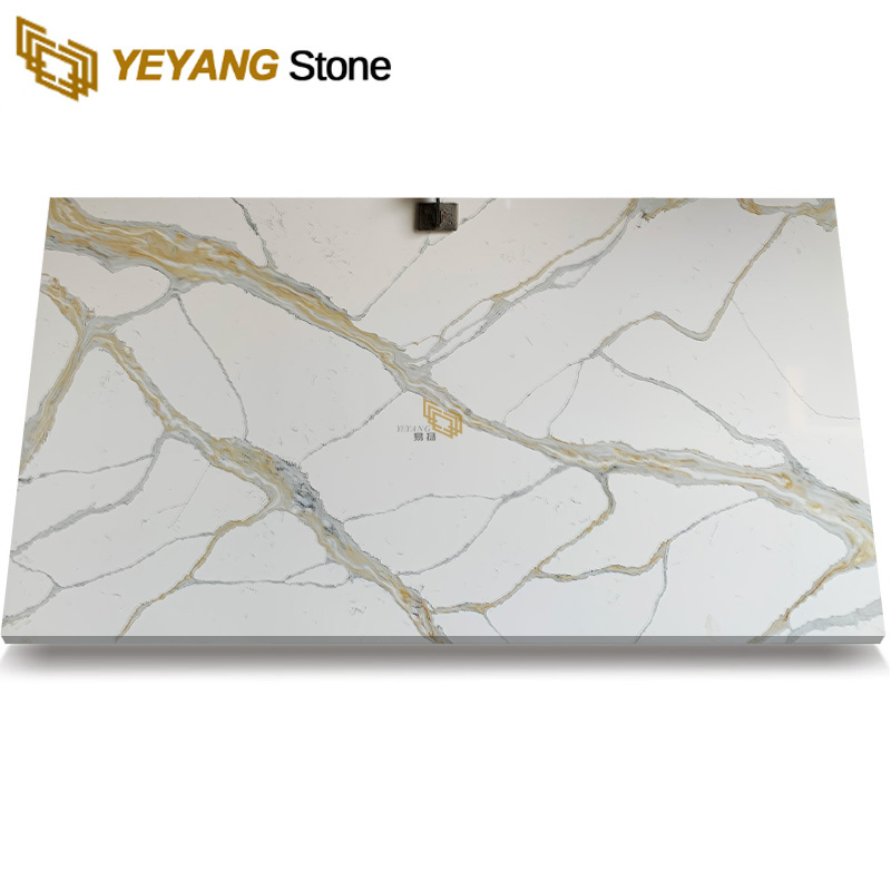 White Quartz Stone Slab with Gold Veins for Prefabricated Counter Tops B4046
