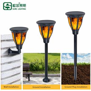 New Classic 2w Outdoor All In One Solar Led Flame Garden Light