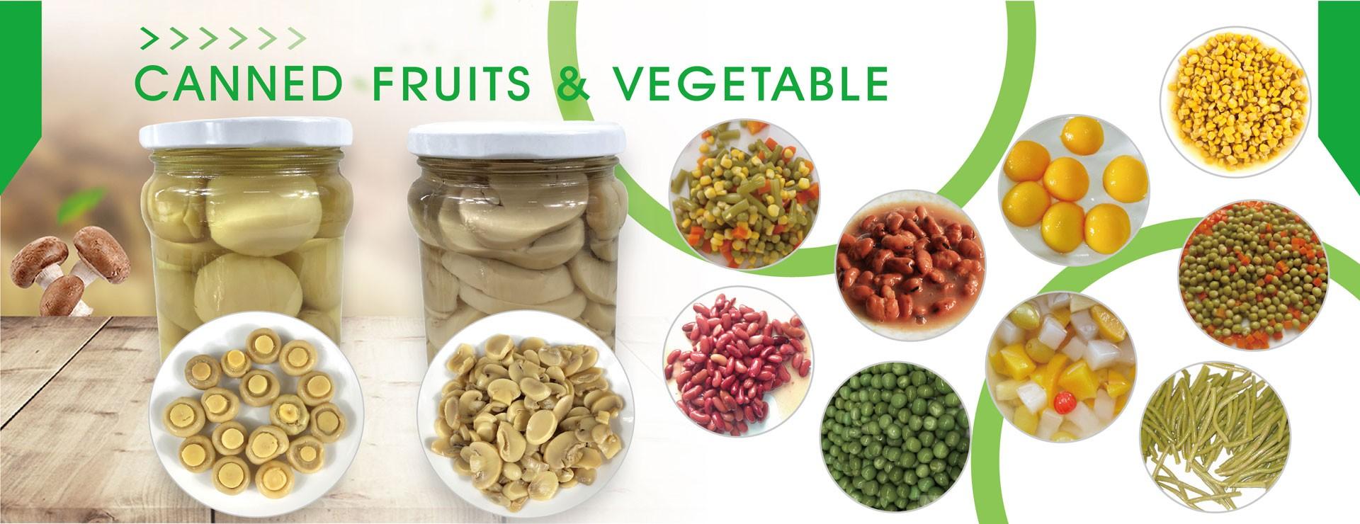Frutas e vegetais enlatados