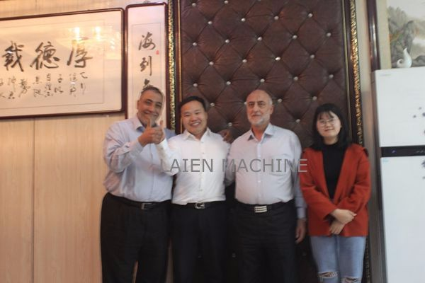 Qatar customer visiting Laien machine company for angle bead machine,plaster stop bead machine,,coil lath machine