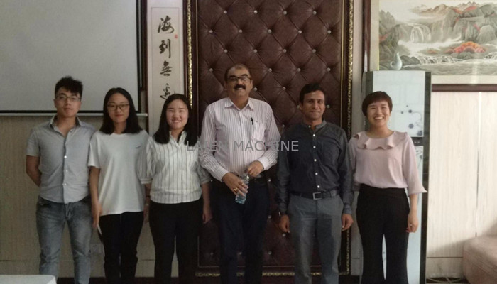 India customer came to visit Laien machine company for Filter Mesh Expanded Metal Machine