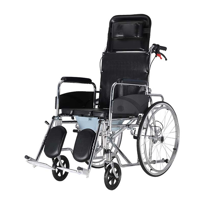 Steel Reclining High Back Commode Wheelchair