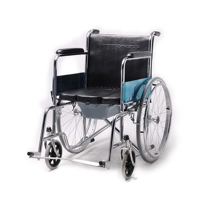 Steel Folding Frame Commode Wheelchair For Senior