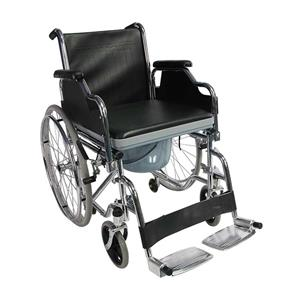 Steel Portable Drop Arm Commode Wheelchair