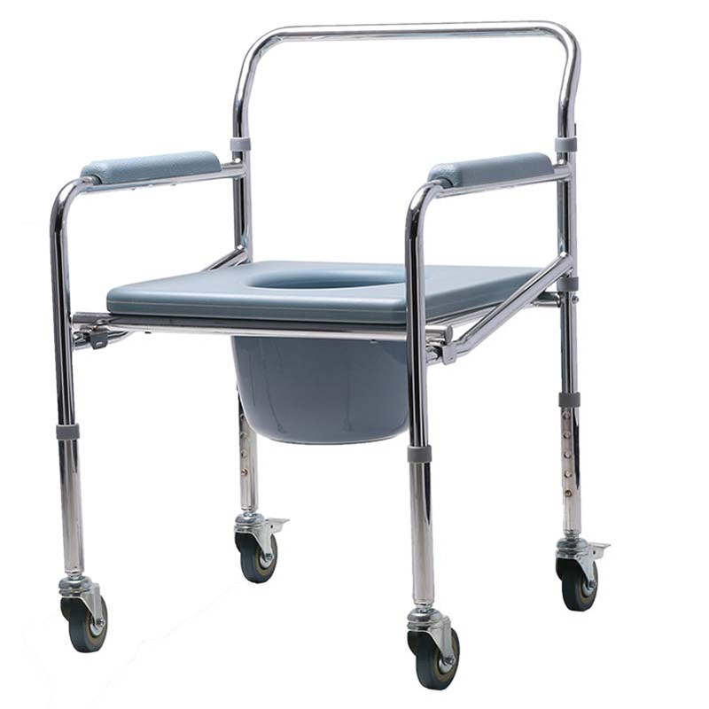 Height Adjustable Bedside Potty Chair With Wheels