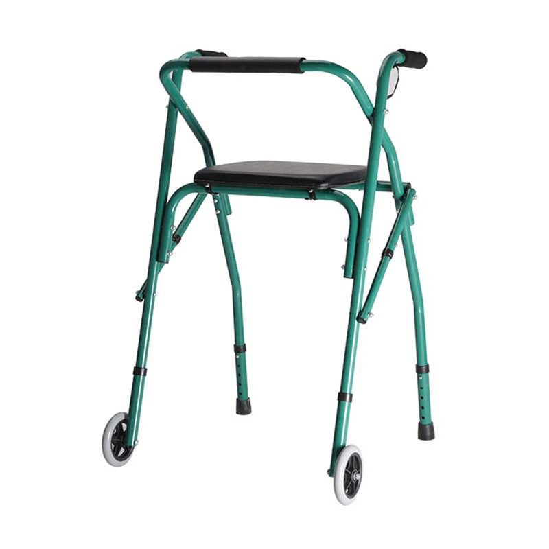Aluminium Folding Walker With Seat And 2 Wheels