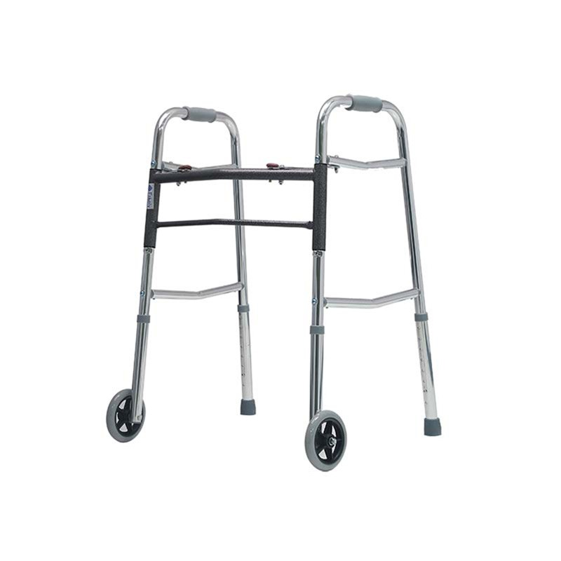Aluminium Two-button Folding Height Adjustable Walker With 2 Wheels
