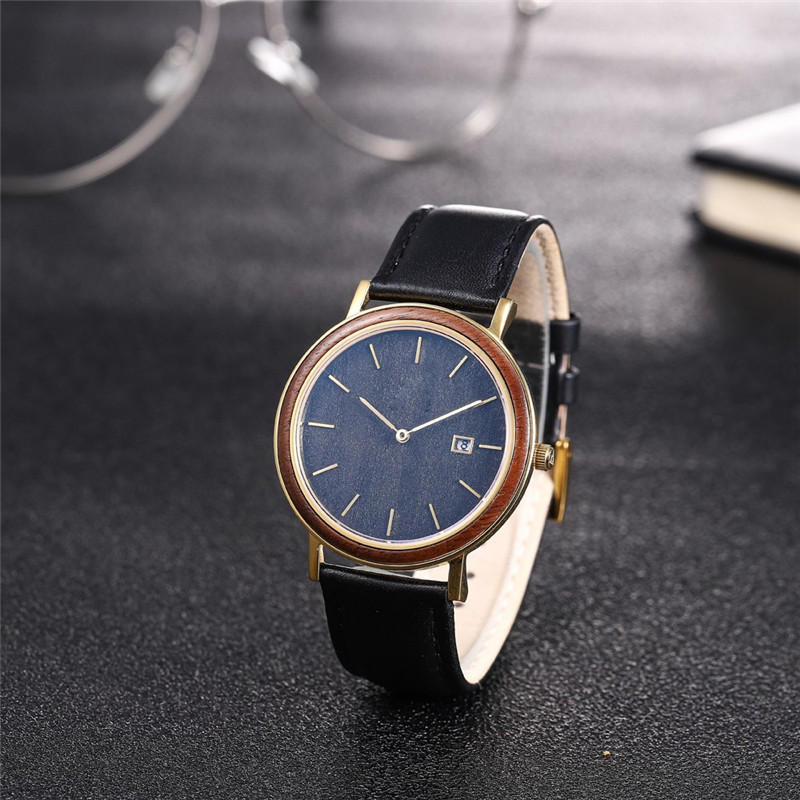 Engraved Wooden Watch With Leather Band