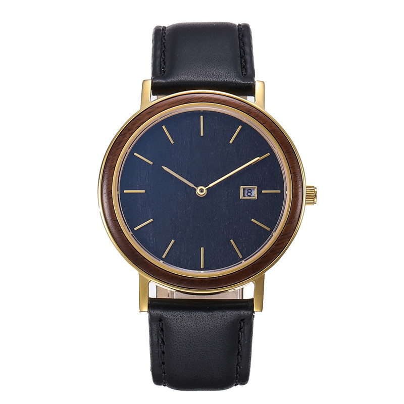 Engraved Wooden Circle Watch With Genuine Leather Band