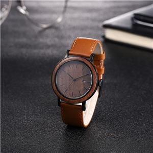 ساعة كوارتز خشبية أصلية من الفولاذ المقاوم للصدأ مع سوار جلدي