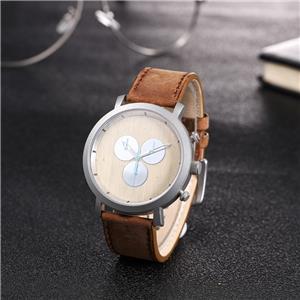 Handmade Leather Strap Wooden Wrist Watch