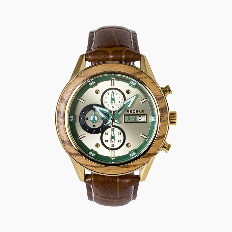Luminous Wooden Watch With Leather Strap