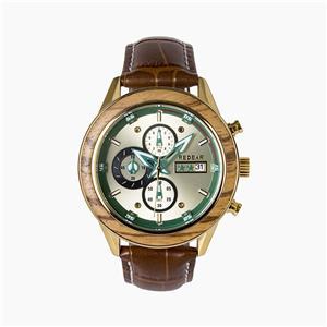 ساعة خشبية مضيئة مع حزام جلدي