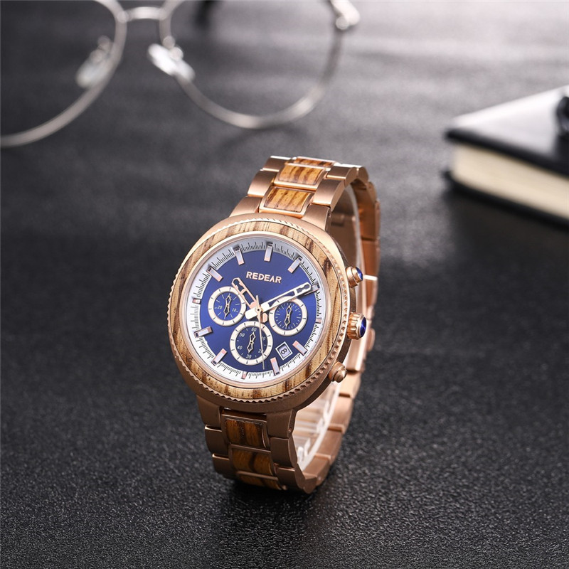 Auto Date Dual Time Stainless Steel Wooden Watch