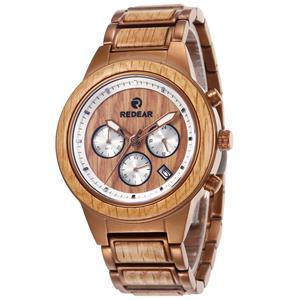 Luminous Stainless Steel Wooden Watch