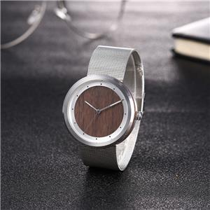 Moonphase Wrist Stainless Steel Wooden Watch