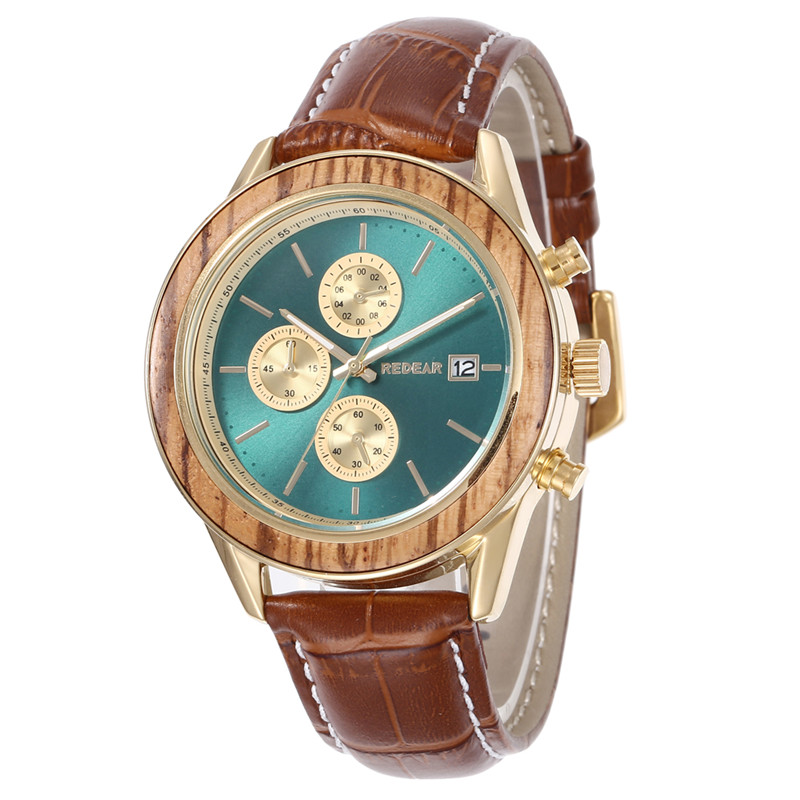 Automatic Wooden Watch With Leather Band