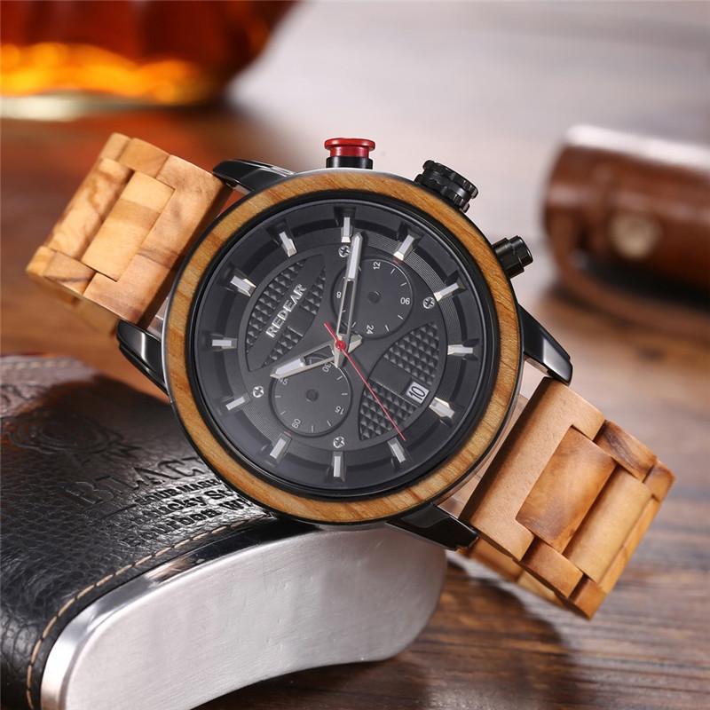ساعة Quzrtz خشبية أنيقة للرجال