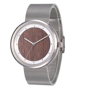 Minimalist Stainless Steel Walnut Sapphire Watch For Ladies