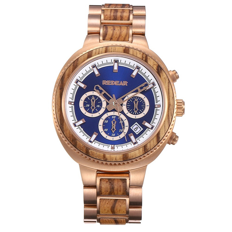 New Stainless Steel Rose Gold Zebra Water Resistant Watch
