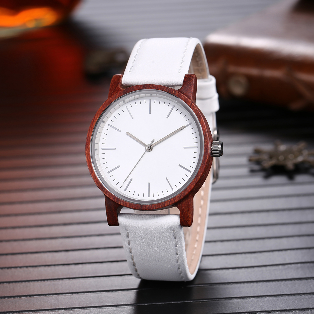Leather Band Bamboo Wooden Watch