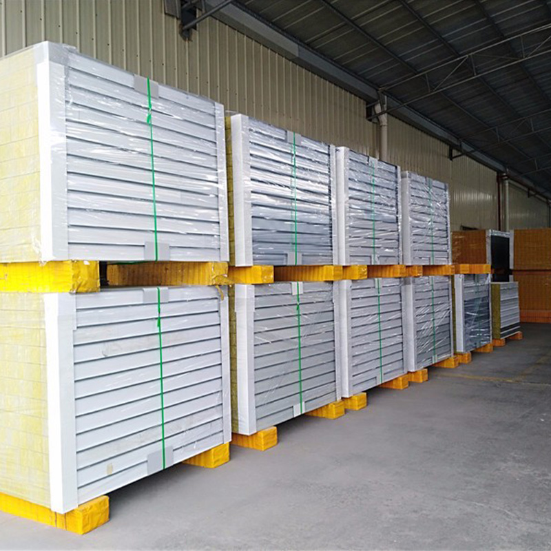 Insulated Rockwool Sandwich Panel For Steel Structure Building Rockwool Insulation Panels For Wall