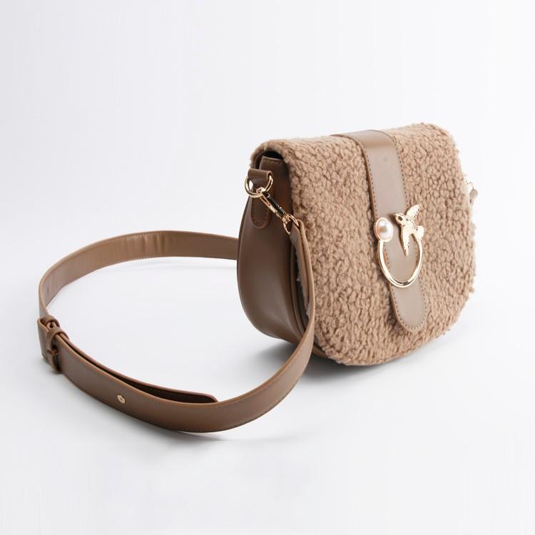 Women Fashion Shoulder Sherpa Bag with Detachable Strap