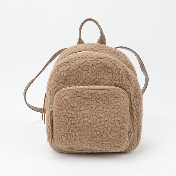 Faux Sherpa Backpack Fashion Cute Mini Bag Brown Shoulder Bag