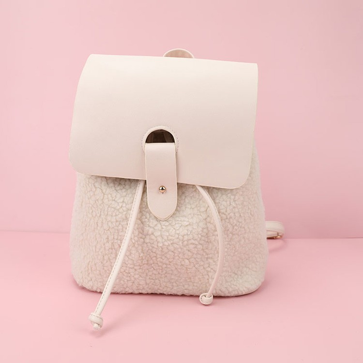 Ladies Fashion Sherpa PU Backpack Lamb Wool Drawstring Bag