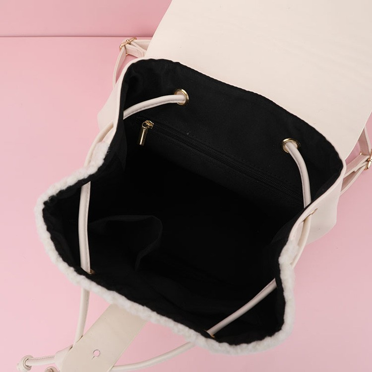Ladies Fashion Sherpa PU Backpack Drawstring Bag Manufacturers, Ladies Fashion Sherpa PU Backpack Drawstring Bag Factory, Supply Ladies Fashion Sherpa PU Backpack Drawstring Bag