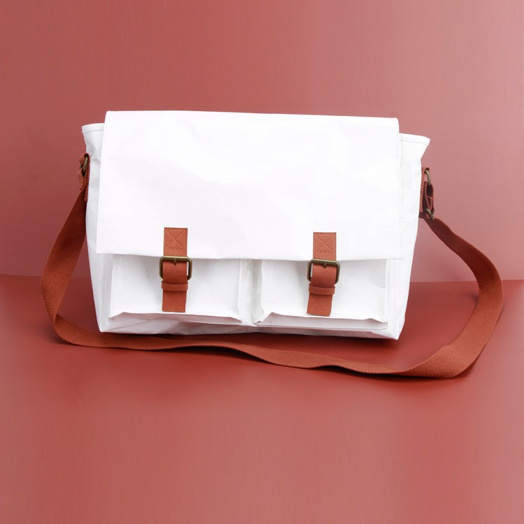 Knead Texture Kraft White Travel Big Crossbody Messenger Bag