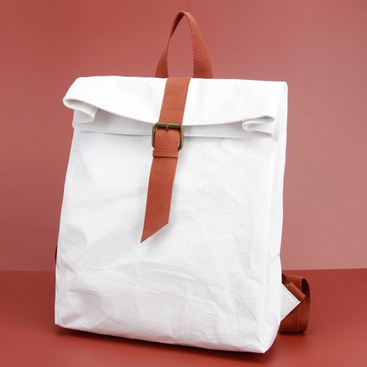 Knead Texture Kraft White Waterproof Backpack School Bag