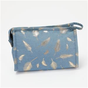 Cosmetic Bag Portable Toiletry Bag Organizer Gold Feather
