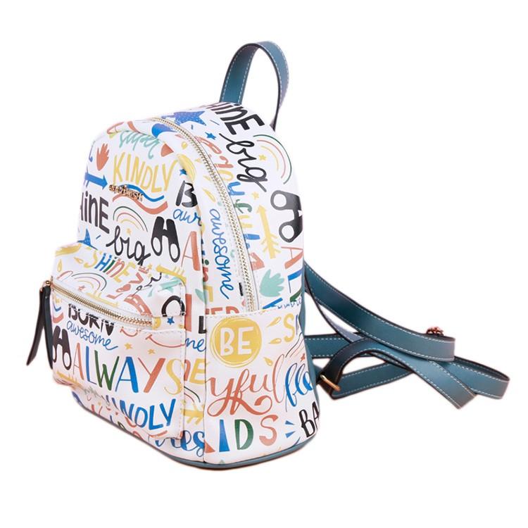 Trendy Graffiti Backpack Shoulder Bag For Girls Cute Green