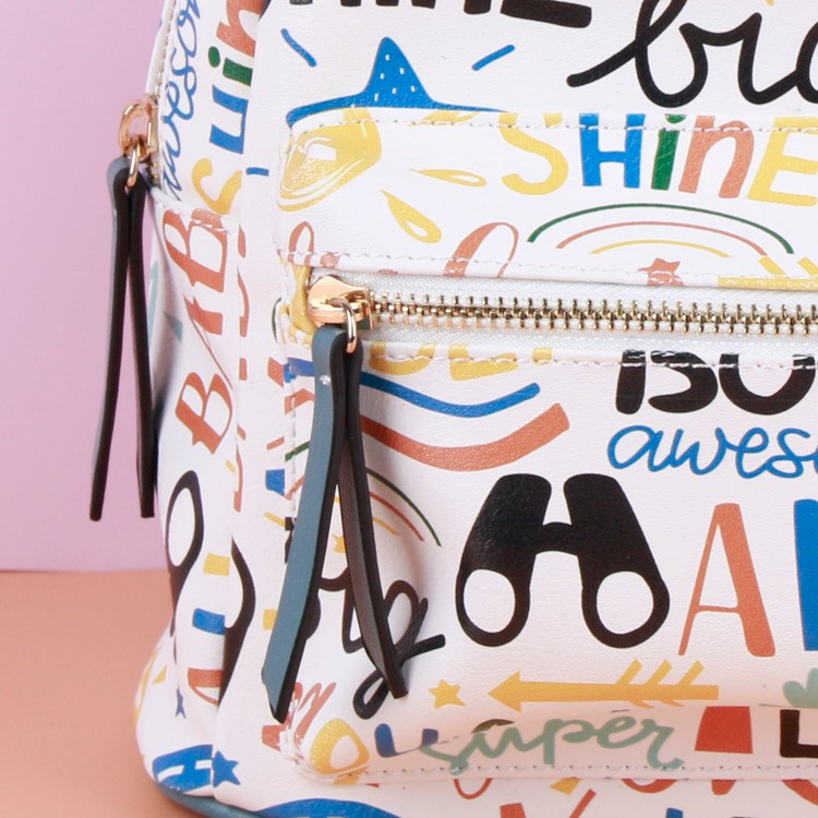 Trendy Graffiti Backpack Shoulder Bag For Girls Cute Green