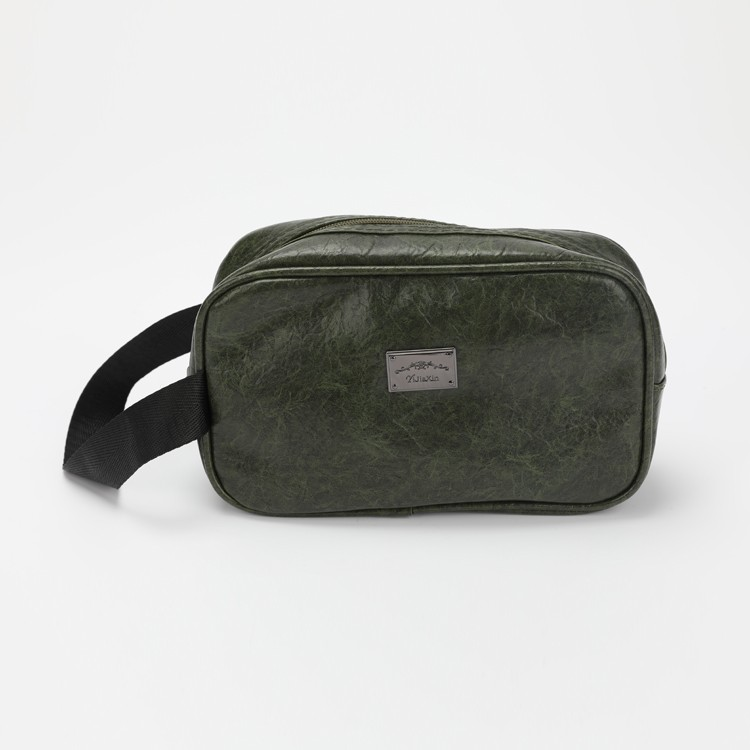 Blackish Green PU Leather Cosmetic Bag Soft Make-up Bag