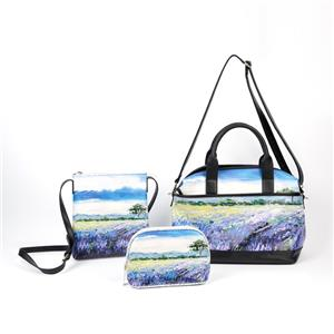 Lavender Oil Painting Tote Bag Nature Painting Sling Bag