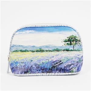 Lavender Oil Painting Hand Bag Nature Painting Cosmetic Bag