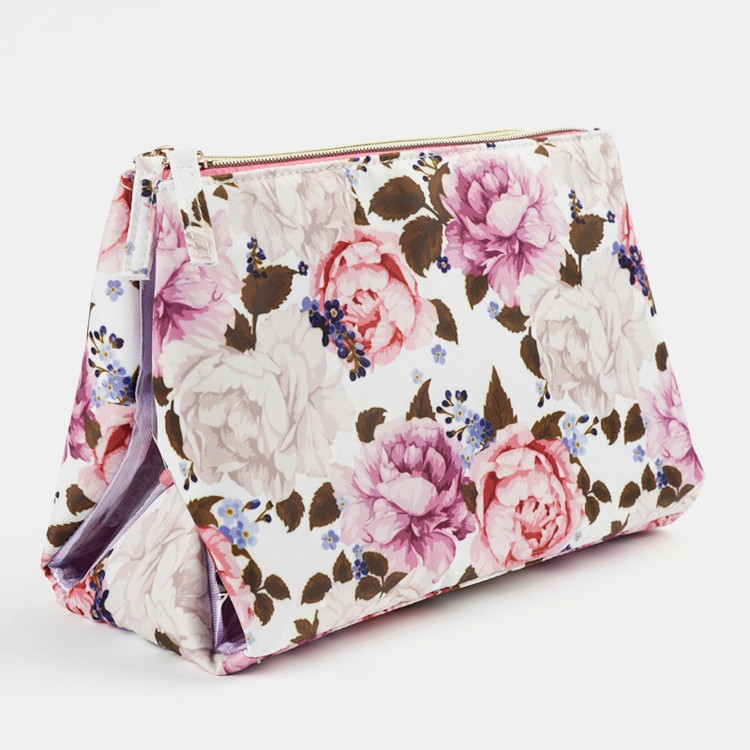 Foldable Floral Prints Women Clear Trifold Cosmetic Bag