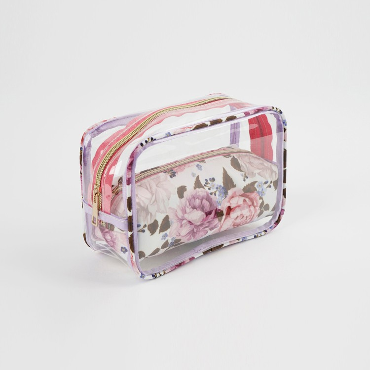 Transparent Square Floral Pouch Cosmetic Bag Set For Women