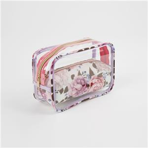 Transparent Square Floral Prints Cosmetic Bag Set For Women