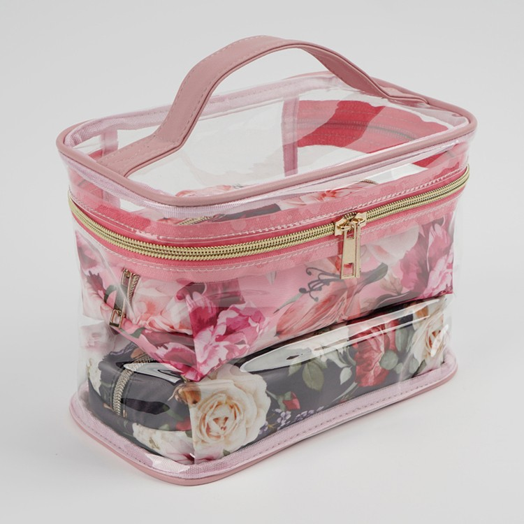 Wholesale Transparent Floral Prints Cosmetic Bag Set 3 Pieces
