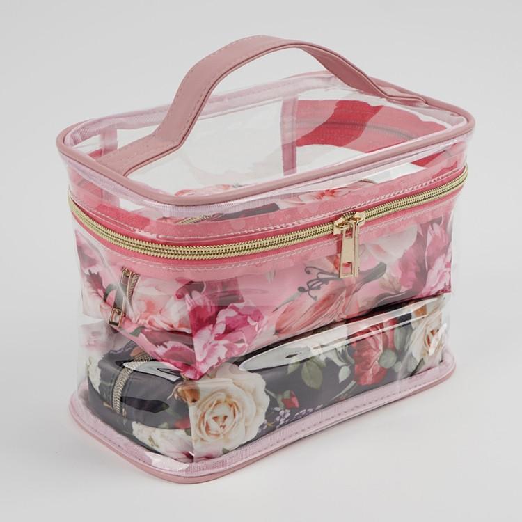 Toptan Şeffaf Çiçek Baskılı Kozmetik Çanta Seti 3 Parça