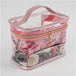 طقم حقيبة مستحضرات التجميل بطباعة الأزهار الشفافة بالجملة 3 قطع