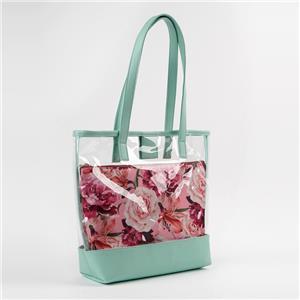 Wholesale Transparent Flower Prints Tote Beach Bag Set 2 Pieces