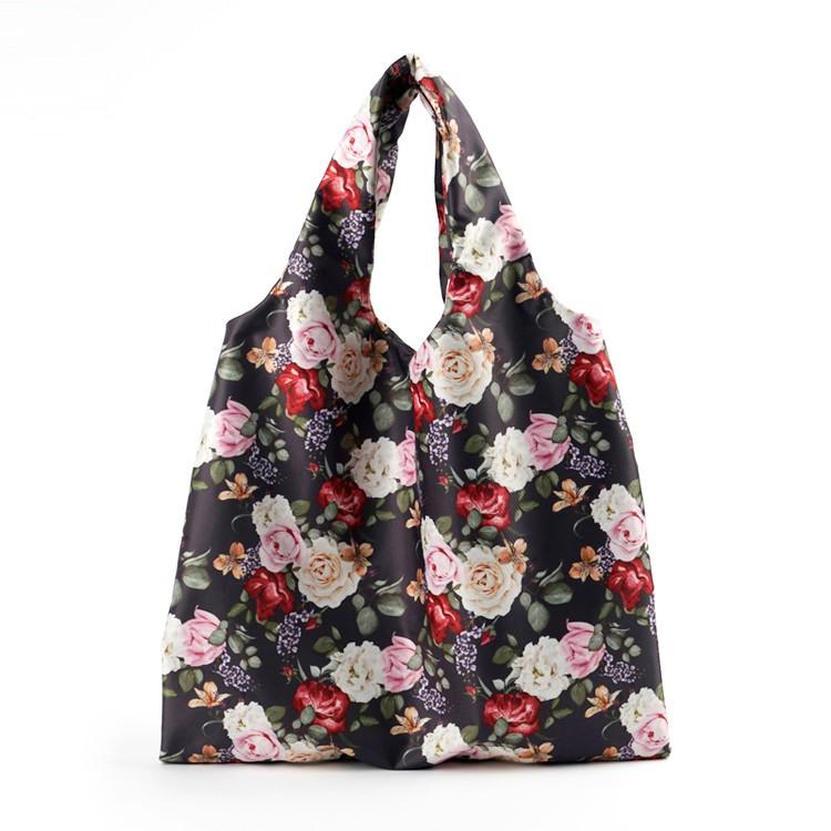 Foldable Flower Prints Big Capacity Shopping Bag For Wholesale