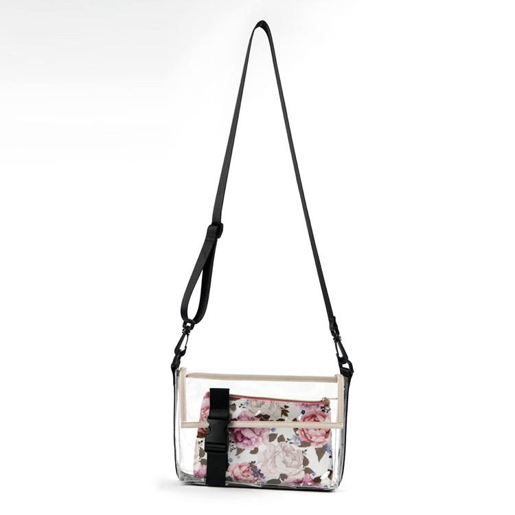 Fashion Transparent Floral Prints Crossbody Bag Set 2 Pieces