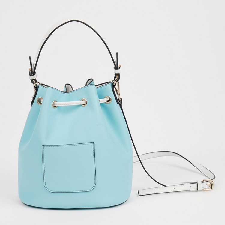 Big Capacity Bucket Shape Drawstring Lady Bag Blue Handbag