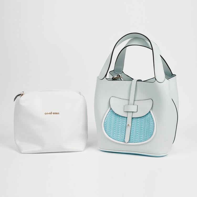 Extra Large White PVC Leather Tote Bag 2in1 Handbag Set