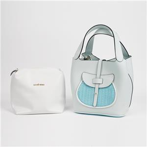 Extra Large White PVC Leather Tote Bag 2in1 Handbag Set